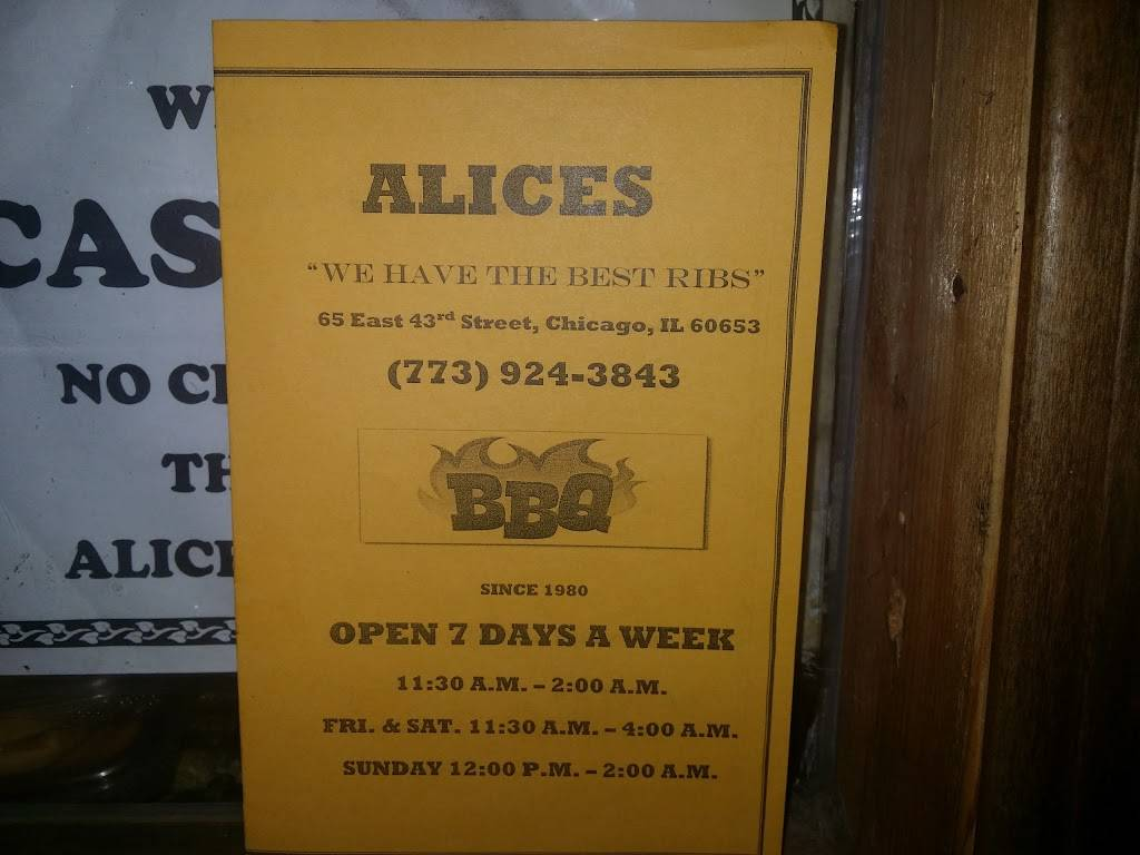 Alices Bar-B-Que | restaurant | 65 E 43rd St, Chicago, IL 60653, USA | 7739243843 OR +1 773-924-3843
