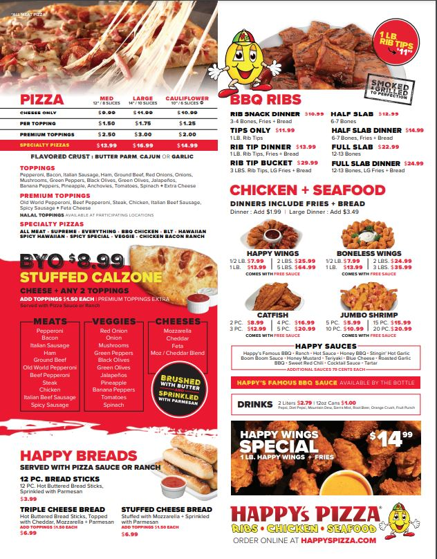 Happys Pizza   meal delivery   1450 W Broad St, Columbus, OH 43222, USA   6149570000 OR +1 614-957-0000