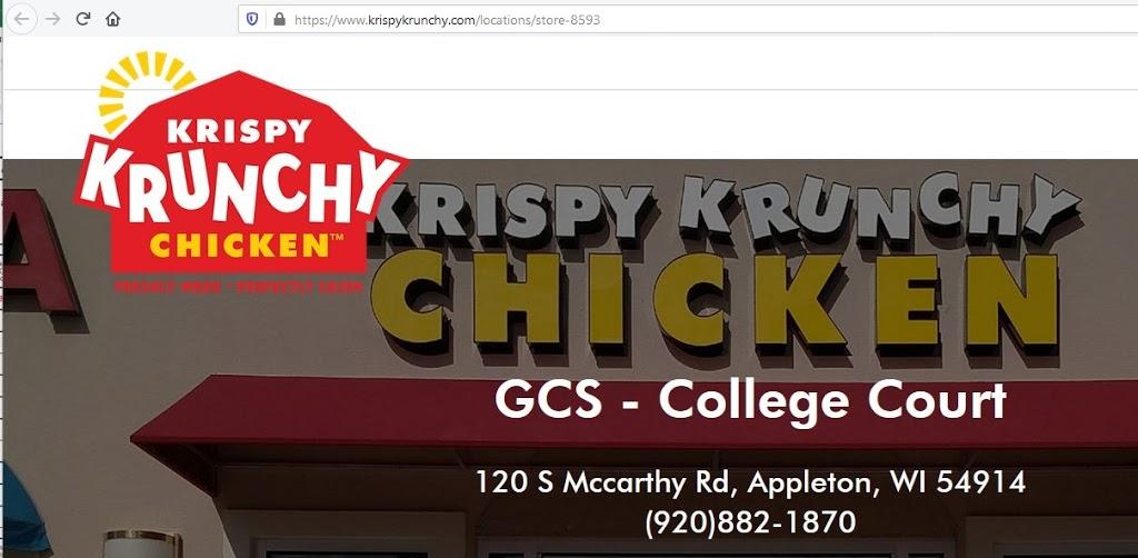 Krispy Krunchy Chicken | restaurant | 120 McCarthy Rd, Appleton, WI 54914, USA | 9208821870 OR +1 920-882-1870