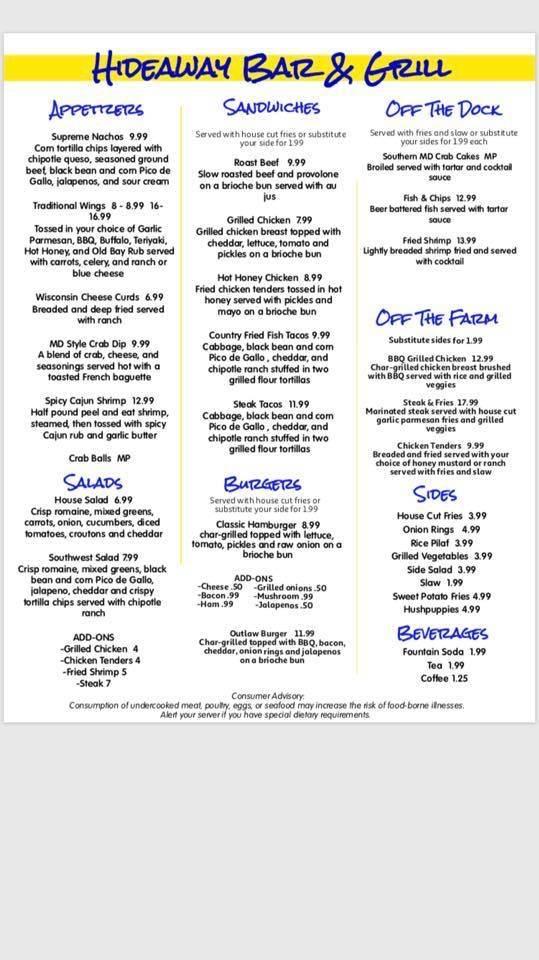 Hideaway Bar & Grill | restaurant | 3438 John G Richards Rd, Camden, SC 29020, USA | 8034751133 OR +1 803-475-1133