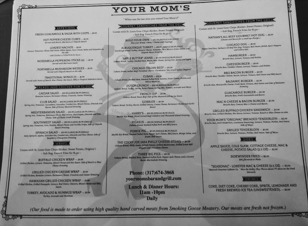 Your Moms Grill & Bar | restaurant | 933 Conner St, Noblesville, IN 46060, USA | 3176743868 OR +1 317-674-3868