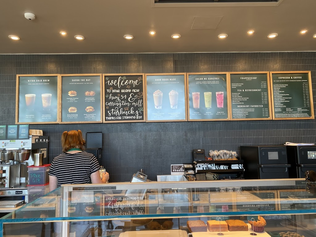 Starbucks | cafe | 1017 Carrington Mill Blvd, Morrisville, NC 27560, USA | 9848423017 OR +1 984-842-3017