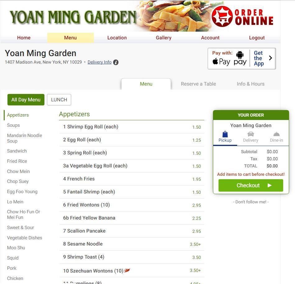 Yoan Ming Garden | restaurant | 6930, 1407 Madison Ave # 2, New York, NY 10029, USA | 2124269545 OR +1 212-426-9545