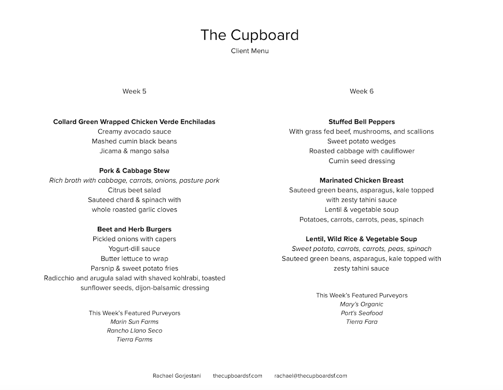The Cupboard   meal delivery   300 Baker St, San Francisco, CA 94117, USA   4158945399 OR +1 415-894-5399